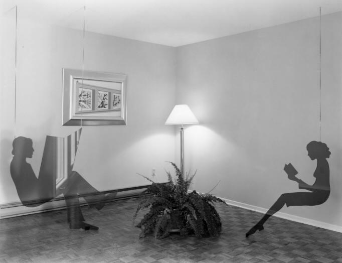 Model living room, 1974