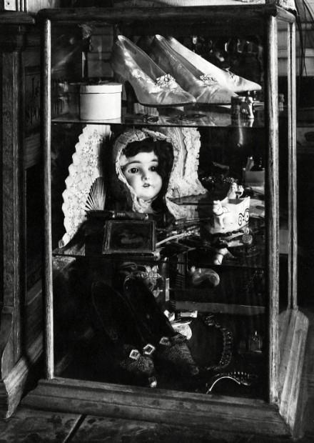 Doll's Head in Showcase, Virginia City, Montana, 1949