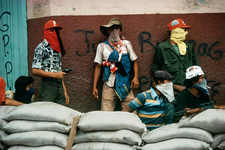 Sandinista barricade during last days of fighting in Matagalpa, 1979