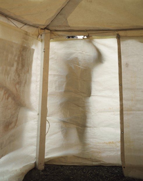 Man Looking in Revival Tent, Chicago, 2004