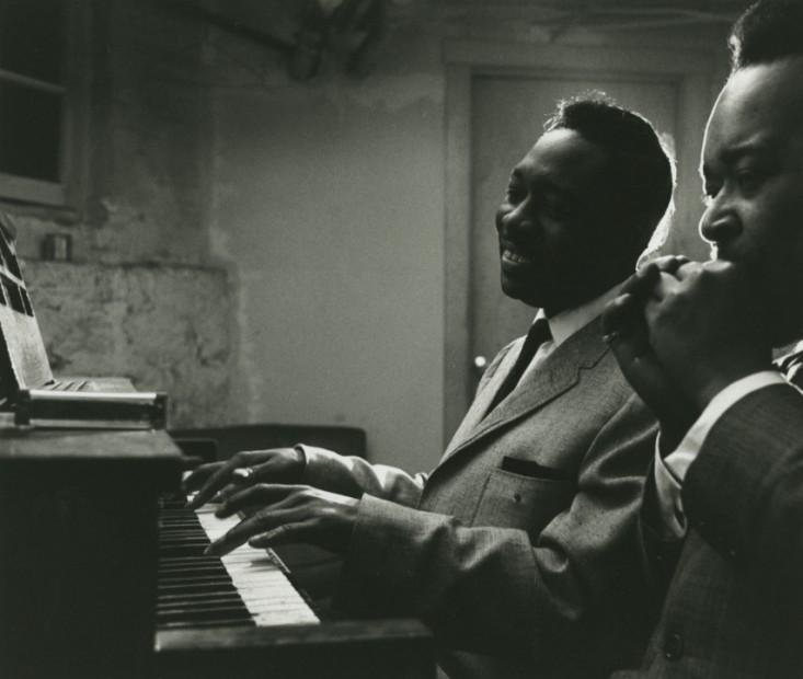Otis Spann on Piano with James Cotton Rehearsing in Muddy