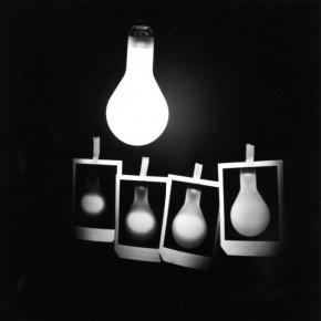 light bulb, 4 polaroid pictures of light bulb