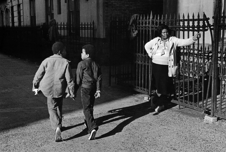 A Woman and Two Boys Passing, Harlem, 1978