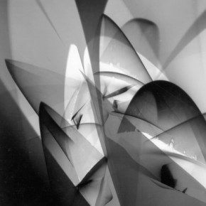 abstract photogram with light, amorphous shapes