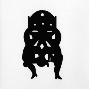 abstract silhouette of woman bending over in chair