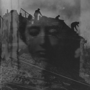 multiple exposure of Shirley Berman, and men on roof of school that is being demolished